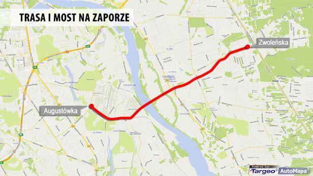 Tak mogłaby przebiegać trasa i mostu targeo.pl
