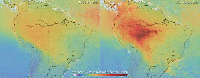 Poziom tlenku węgla w pod koniec lipca i na początku sierpnia 2019 roku w Ameryce Południowej