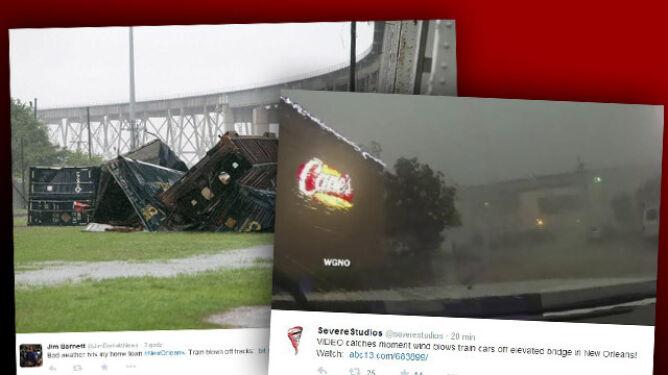 W Nowym Orleanie wiatr zdmuchnął <br />pociąg towarowy z mostu