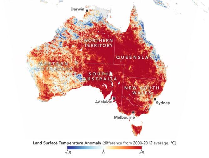 Anomalie temperatury w porównaniu do okresu 2000-2012