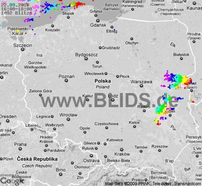 Burze w Polsce (blids.de)