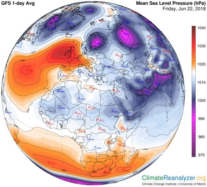 Sytuacja baryczna 22 czerwca (NOAA/University of Maine)
