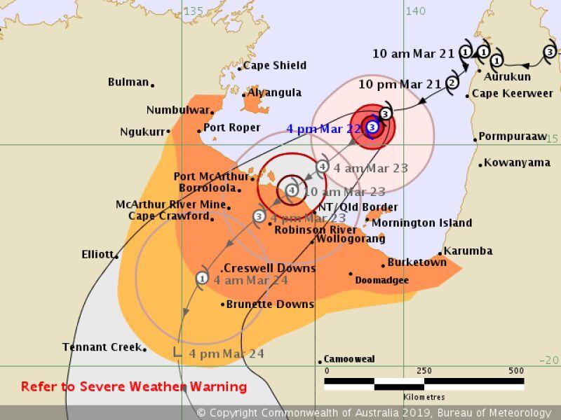Prognozowana trasa przejścia cyklonu Trevor (bom.gov.au)